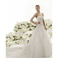 Short Tulle A-line Strapless Spring Sleeveless Lace Natural Ivory Wedding Dresses