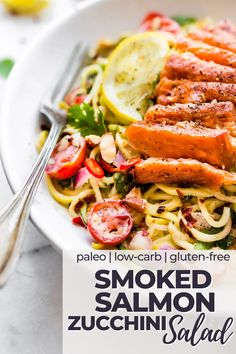 A little heat and a little smoke, this Cajun Smoked Salmon Zucchini Noodles Salad is a nourishing meal with some kick. A Paleo salmon dinner made with zucchini 'noodles' and sure to please everyone around the table. Healthy Salmon Recipes, Paleo Recipes Easy, Best Dinner Recipes, Entree Recipes, Whole Food Recipes, Salad Recipes, Clean Eating Recipes, Diet Recipes, Smoked Salmon Pasta