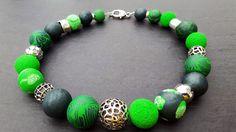 Ketten kurz - Kette grün aus Polymer Clay - ein Designerstück von Perlenzauber-Gabriele bei DaWanda