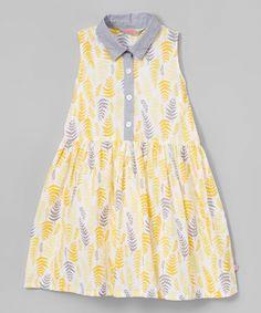 Yellow Leaf Shirt Dress - Toddler & Girls