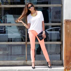 neon jeans, totally want to try neon or pastel jeans!