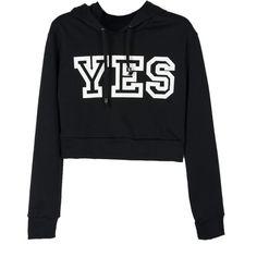 Choies Black YES Print Crop Hoodie (€26) ❤ liked on Polyvore featuring tops, hoodies, sweatshirts, shirts, sweaters, crop tops, black, black sweatshirt, hooded pullover and hooded sweatshirt