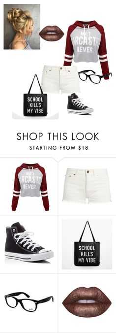 """""""Sarcasm rocks!!!"""" by cant-find-a-username ❤ liked on Polyvore featuring WithChic, Yves Saint Laurent, Converse, Ray-Ban and Lime Crime"""