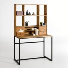 Hiba Steel/Solid Oak Desk with Shelving Unit LA REDOUTE INTERIEURS Industrial style furniture in solid joined oak and metal, providing 2 pieces of furniture in one. The Hiba desk-shelving unit combines contemporary. Furniture Making, Home Furniture, Solid Oak Desk, Small Lockers, Decoracion Low Cost, Desk Cabinet, Industrial Style Furniture, Metal Desks, Desk Storage