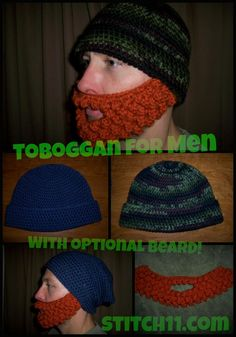 A Tobbogan For Men with Optional Beard FREE PATTERNS!