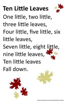 Itty Bitty Rhyme: Ten Little Leaves halloween fingerplays Preschool Poems, Fall Preschool Activities, Kindergarten Songs, Preschool Music, Thanksgiving Activities, Preschool Learning, Therapy Activities, Toddler Activities, Circle Time Songs