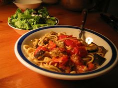 Cheap Healthy Good - Frugal Recipes, Food Tips, No Mayo: Of Eggplants and Angels: Angel Hair Pasta with Eggplant-Tomato Sauce. My comments: I might do a little less broth and more fresh garlic. Add pine nuts too would be good. I added some Parmesan too and used fresh tomatoes
