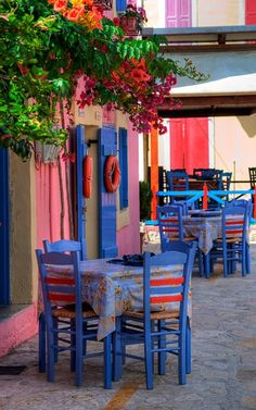 Fiskardo, Kefalonia Island, Greece. I love all of the colors.