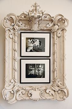 Brilliant, brilliant use of old frames. Place photos that are already simply framed and mated within the large ornate frame. Simply awesome. Biddy Craft
