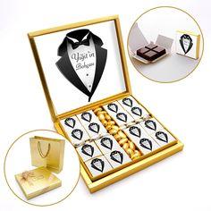 Çikolata :: Söz-Nişan Çikolataları ve Tepsileri :: İsimli Bohça Çikolatası - Antep Fıstıklı Sütlü Çikolata + Draje (32li Paket) Beyaz Etiket