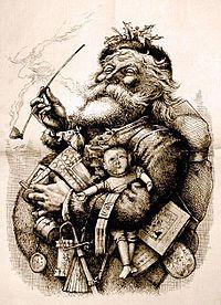 """Deze tekening van Thomas Nast, """"Merry Old Santa Claus"""", uit de editie van 1 januari 1881 van Harper's Weekly bepaalt het uiterlijk van de Kerstman tot de dag van vandaag"""