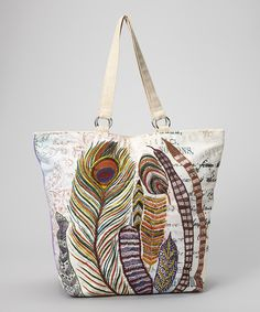 Look what I found on #zulily! RICKI DESIGNS Cream Peacock Feather Tote by RICKI DESIGNS #zulilyfinds