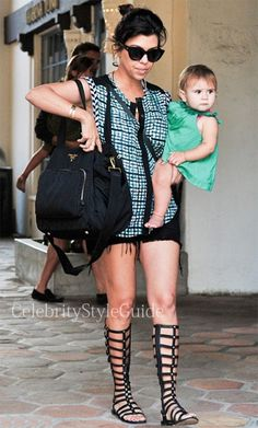 Seen on Celebrity Style Guide: Kourtney Kardashian wore tall Gladiator Sandal with her daughter Penelope at Taberna restaurant in Los Angeles July 13 2013