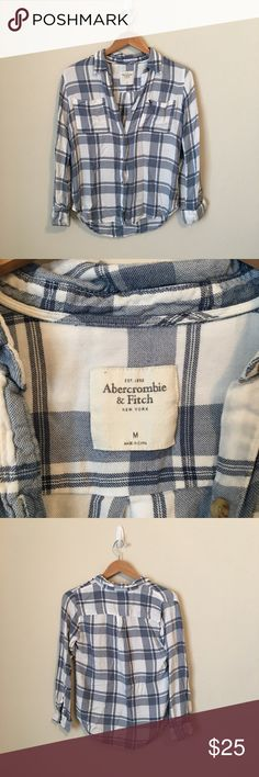 Abercrombie & Fitch Plaid Button Down Shirt Plaid buttons shirt, roll up sleeves with buttons to adjust to 3/4 length. Great condition Abercrombie & Fitch Tops Button Down Shirts