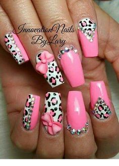 Cute pink nail art   Inspiration for Ladies