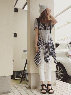 おまゆさんのニットキャップ/ビーニー「MOUSSY Summer Knit Cap」を使ったコーディネート