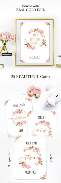 Baby Milestone Cards - Baby gift in Floral with REAL GOLD FOIL accents - Newborn, Baby Shower
