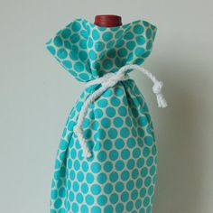 Wine Gift Bag - Turquoise and White Dots by PeetSwea on Etsy, $8.00