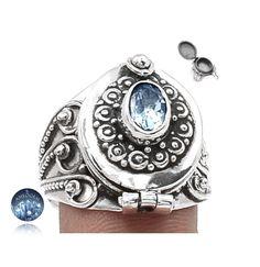 Sz 9, Natural Blue Topaz Gemstone, 925 Solid Sterling Silver, Hand-Made Poison Ring Exotic Jewellery de AmeogemJewellery en Etsy https://www.etsy.com/es/listing/449616178/sz-9-natural-blue-topaz-gemstone-925
