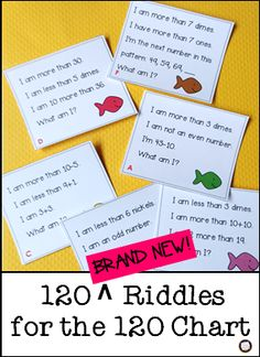 Primary Inspiration: 120 New Math Riddles . and a Sample, Too! Math For Kids, Fun Math, Math Math, Kindergarten Math, Math Resources, Math Activities, Math Games, 120 Chart, Number Chart