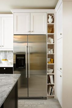 22 Amazing Kitchen Makeovers You Have to See to Believe - Refrigerator - Trending Refrigerator for sales. - Kitchen with black base cabinets white upper cabinets Sarah 101 Season Dream Budget Kitchen design by Sarah Richardson photo by Stacey Brandford Condo Kitchen, Kitchen Corner, Kitchen On A Budget, Kitchen Shelves, Kitchen Pantry, Kitchen Storage, New Kitchen, Kitchen Decor, Kitchen Wood