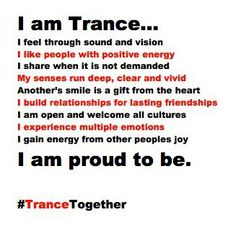 trance. How I love trance music... Just feel love, peace, come together as one and you'll regain that love you once thought you never had.