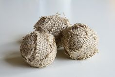 Burlap balls for filler for jars, vases and bowls.  Makes a great centerpiece or tie with ribbon for a tree ornament.