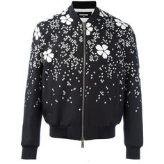 Dsquared2 'Tokyo' flower bomber jacket (3,585 CAD) ❤ liked on Polyvore featuring men's fashion, men's clothing, men's outerwear, men's jackets, black and mens zip up jackets