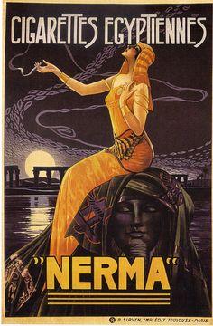 vintagemarlene:    nerma french (egyptian)cigarettes poster by gaspar camps      1924