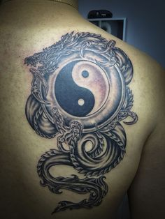 The Yin Yang tattoo carried by a dragon. Dragons are a sign of prosperity in Chinese belief which means, it carrying the Yin Yang symbol is of good sign.