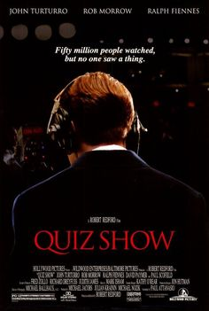 """Quiz Show Director: Robert Redford Writers: Richard N. Goodwin (Book """"Remembering America: A Voice Form the Sixties), Paul Attanasio (Screenplay) Robert Redford, Hd Movies, Movies To Watch, Movies And Tv Shows, Ralph Fiennes, Love Movie, Movie Tv, Quiz Show, John Turturro"""