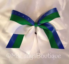 Rhinestone Green Blue White Cheer Bow on Etsy, $10.00
