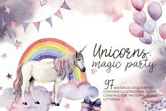 Watercolor by Yuliya Derbisheva on I'm glad to present you my new watercolor collection Unicorns: magic party. This is a story about white unicorns, fairy tales, magic and Watercolor Lettering, Watercolor Cards, Watercolor Illustration, Halloween Illustration, Watercolor Animals, Botanical Illustration, Magie Party, Unicorn Party Invites, Balloon Clipart