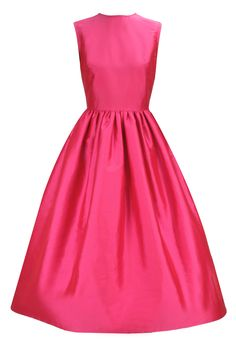 Fuchsia pink asymmetrical flared dress with black bow belt available only at Pernia's Pop-Up Shop.