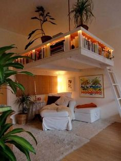 The small apartment furnished with a loft bed, bed .- Die kleine Wohnung mit Hochbett eingerichtet, The small apartment furnished with a loft bed, - House, Reading Loft, Home, Small Apartments, Cool Rooms, House Interior, Small Room Decor, Space Saving Ideas For Home, Dream Rooms