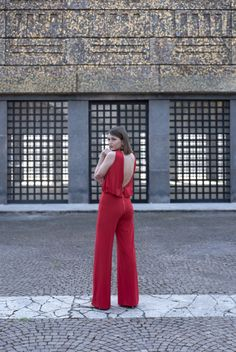 #red #jumpsuit #outfit #look #mangano