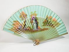 vintage hand fans   Lovely Antique Vintage Hand Painted Fan Vintage Collectibles Home ...