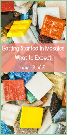 Getting Started In Mosaics – What to Expect Part 3. Tesserae and Tools. Let's talk tesserae. Tesserae is a term for any object used in creating a mosaic; for instance, vitreous tiles, stained glass, found objects, ceramic tiles, smalti, etc. For beginners, I recommend starting with... read more at the link