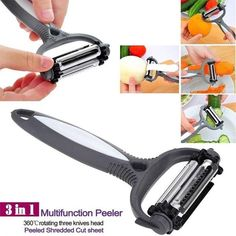 Buy 3 in 1 Rotary Stainless Steel Fruit Vegetable Carrot Potato Peeler Cutter Dishwasher Safe Slicer at Wish - Shopping Made Fun Kitchen Tools, Kitchen Gadgets, Kitchen Dining, Kitchen Items, Kitchen Utensils, Rotary, Potato Cutter, Potato Peeler, Steel Cutter