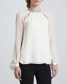 Crystal-Collar Silk Blouse by Haute Hippie at Bergdorf Goodman.