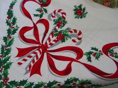 Moda Home Candy Cane Christmas Tablecloth