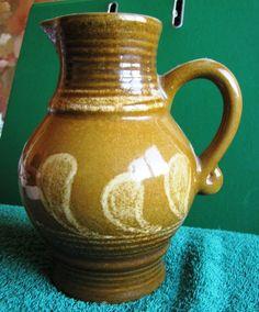 German GDR Pottery Vase Pitcher Kreamer Strehla Keramik  Lava retro brown
