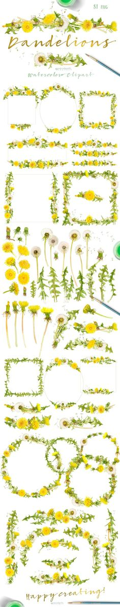 Dandelions-clipart set watercolor by watercolorwild.graphics on @creativemarket