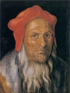 Portrait of a Bearded Man in a Red Hat, 1520  Albrecht Durer