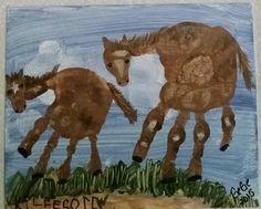 Horses, handprint painting