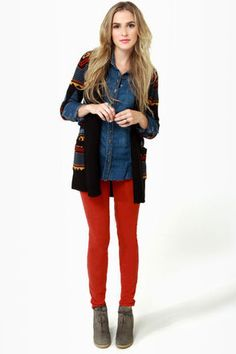 Like the red and blue denim combo, especially bare of accessories. The sweater is a sweet touch.