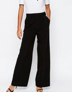 Buy ASOS DESIGN wide leg trousers with pleat detail at ASOS. Get the latest trends with ASOS now. Pantalon Large, Comfy Shoes, Stretch Pants, Khakis, Wide Leg Trousers, Comfortable Outfits, Double Crochet, Jeans, Fashion Online