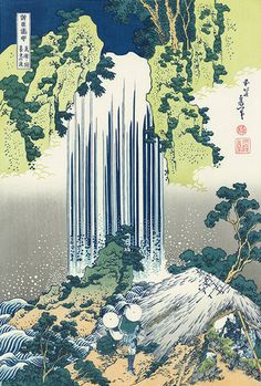 """美濃国養老の滝 Hokusia born 1760 in Japan, beautiful wood block prints. Most famous for """"The Great Wave off Kanagawa"""""""