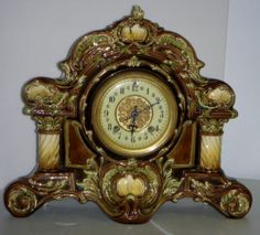 Antique New Haven RARE Majolica 8 Day Porcelain Mantle Clock w Chime Working   eBay