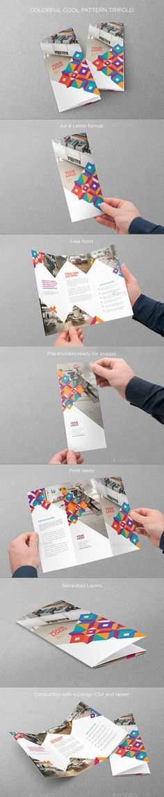 Colorful Cool Pattern Trifold - Brochures Print Templates